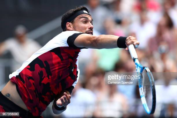 Fabio Fognini of Italy serves in his third round match against Julien Benneteau of France on day six of the 2018 Australian Open at Melbourne Park on...