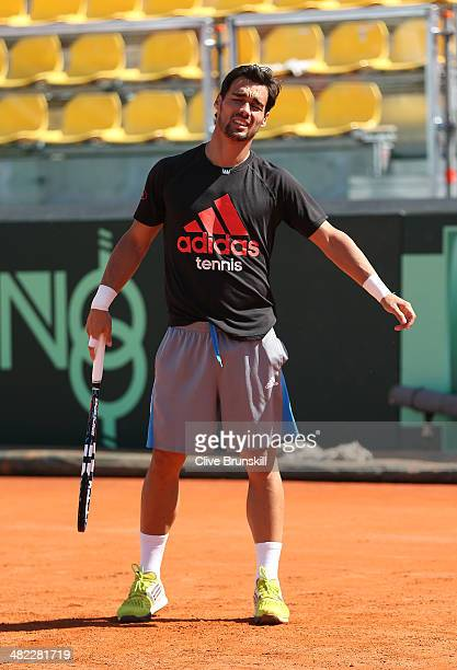 Fabio Fognini of Italy shows his frustrations during a practice session prior to the Davis Cup World Group Quarter Final match between Italy and...