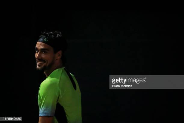 Fabio Fognini of Italy smiles during a match against Felix Auger-Aliassime of Canada during the ATP Rio Open 2019 at Jockey Club Brasileiro on...