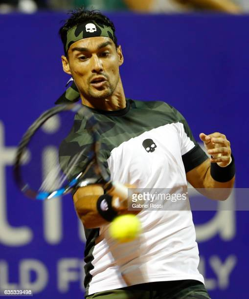 Fabio Fognini of Italy takes a forehand shot during a first round match between Tommy Robredo of Spain and Fabio Fognini of Italy as part of ATP...