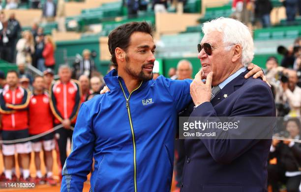 Fabio Fognini of Italy with the last Italian winner of the tournament in 1968 Nicola Pietrangeli after his straight sets victory against Dusan...