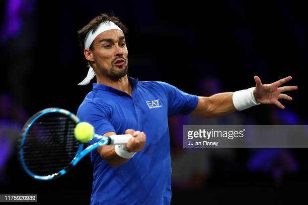 Fabio Fognini of Team Europe plays a forehand in his singles match against Jack Sock of Team World during Day One of the Laver Cup 2019 at Palexpo on...