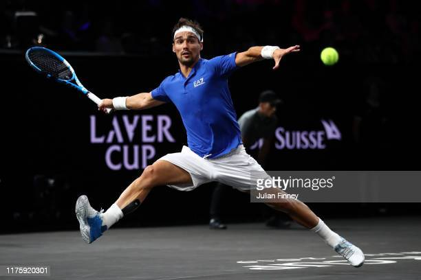 Fabio Fognini of Team Europe stretches to play a forehand in his singles match against Jack Sock of Team World during Day One of the Laver Cup 2019...