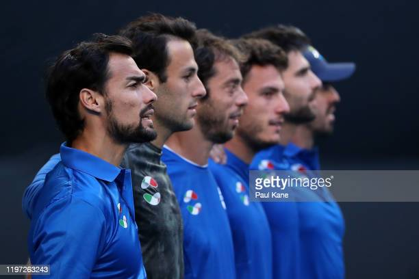 Fabio Fognini of Team Italy looks on for the playing of the Italian national anthem during day one of the 2020 ATP Cup Group Stage at RAC Arena on...