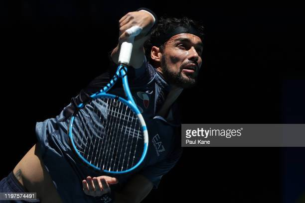 Fabio Fognini of Team Italy serves to Casper Ruud of Team Norway during day three of the 2020 ATP Cup Group Stage at RAC Arena on January 05, 2020 in...