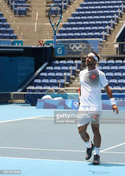 Fabio Fognini of Team Italy throws his racket in frustration during his Men's Singles Third Round match against Daniil Medvedev of Team ROC on day...