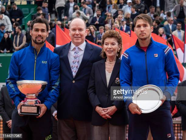 Fabio Fognini Prince Albert II of Monaco ElisabethAnne de Massy and Dusan Lajovic attend the Rolex MonteCarlo Masters at MonteCarlo Country Club on...
