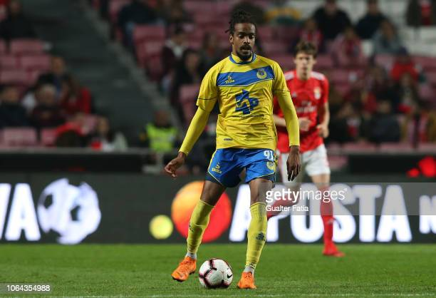 Fabio Fortes of FC Arouca in action during the Taca de Portugal match between SL Benfica and Arouca FC at Estadio da Luz on November 22 2018 in...