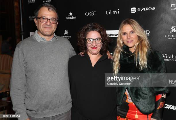 "Fabio Golombek, Claudia Buschel and Andrea Giusti attend Private Reception For ""Abe"" Hosted By The RAND Luxury Escape At The St. Regis Deer Crest..."