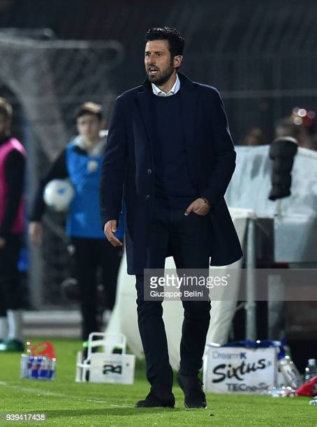 Fabio Grosso head coach of FC Bari 1908 during the serie B match between Ascoli Picchio FC 1898 and FC Bari 1908 at Stadio Cino e Lillo Del Duca on...