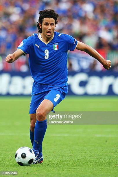 Fabio Grosso of Italy runs with the ball during the UEFA EURO 2008 Group C match between Italy and Romania at Letzigrund Stadion on June 13 2008 in...