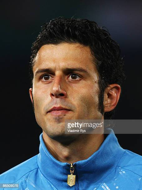 Fabio Grosso of Italy stands for the national anthem the FIFA Confederations Cup match between USA and Italy at Loftus Versfeld Stadium on June 15...