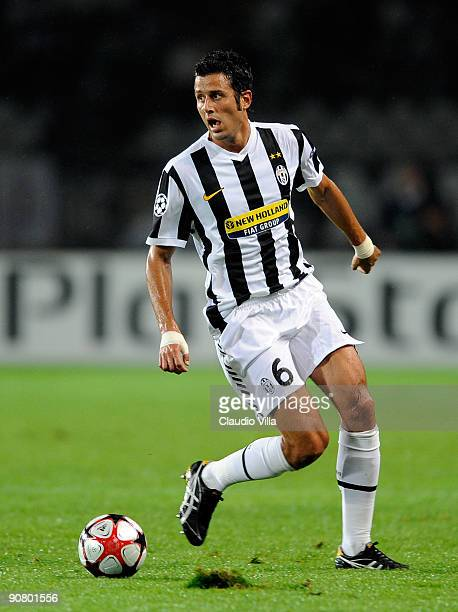 Fabio Grosso of Juventus FC in action during the UEFA Champions League Group A match between Juventus FC and FC Girondins de Bordeaux at the Olympic...
