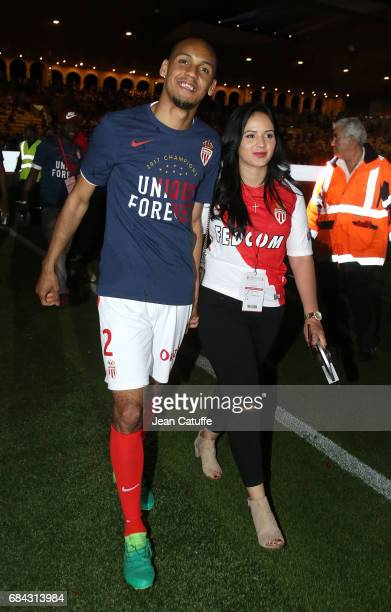 Fabio Henrique Tavares aka Fabinho of Monaco and his wife Rebeca Tavares during the French League 1 Championship title celebration following the...