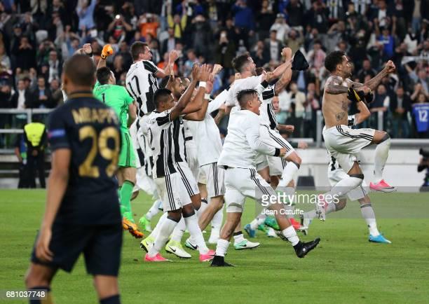 Fabio Henrique Tavares aka Fabinho of Monaco greets Andrea Raggi following the UEFA Champions League semi final second leg match between Juventus...
