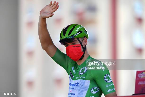 Fabio Jakobsen of Netherlands and Team Deceuninck - Quick-Step Green Points Jersey prior to the 76th Tour of Spain 2021, Stage 5 a 184,4km stage from...