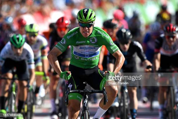 Fabio Jakobsen of Netherlands and Team Deceuninck - Quick-Step Green Points Jersey celebrates at finish line as stage winner during the 76th Tour of...