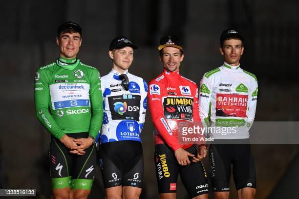 Fabio Jakobsen of Netherlands and Team Deceuninck - Quick-Step green points jersey, Michael Storer of Australia and Team DSM polka dot mountain...