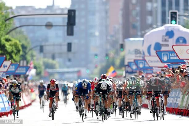Fabio Jakobsen of Netherlands and Team Deceuninck - Quick-Step, Michael Matthews of Australia and Team BikeExchange, Alex Aranburu Deba of Spain and...
