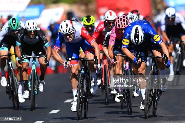 Fabio Jakobsen of Netherlands and Team Deceuninck - Quick-Step sprints to win ahead of Arnaud Demare of France and Team Groupama - FDJ and Magnus...