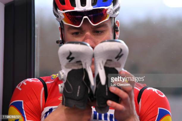 Fabio Jakobsen of The Netherlands and Deceuninck - Quick-Step Team / Specialized Shoe / Detail view / during the Team Deceuninck-Quick-Step 2020 -...