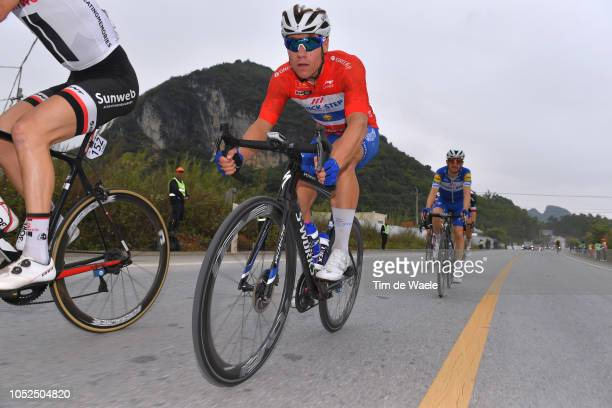 Fabio Jakobsen of The Netherlands and Team QuickStep Floors Red Leader Jersey / during the 2nd Tour of Guangxi 2018 Stage 4 a 1522km stage from...