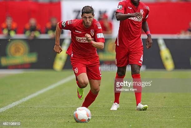 Fabio Kaufmann of Cottbus runs with the ball during the third league match between FC Energie Cottbus and Hallescher FC at Stadion der Freundschaft...