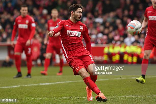 Fabio Kaufmann of Cottbus runs with the ball during the third league match between FC Energie Cottbus and 1.FC Magdeburg at Stadion der Freundschaft...