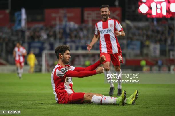 Fabio Kaufmann of FC Würzburger Kickers celebrates after scoring his team`s second goal during the 3. Liga match between FC Wuerzburger Kickers and...