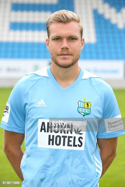 Fabio Leutenecker of Chemnitzer FC poses during the official team presentation of Chemnitzer FC at community4you Arena on July 13 2017 in Chemnitz...