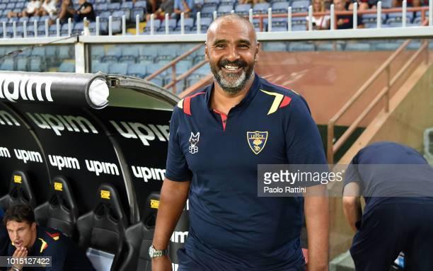 Fabio Liverani head coach of Lecce during the Coppa Italia match between Genoa CFC and Lecce at Stadio Luigi Ferraris on August 11 2018 in Genoa Italy