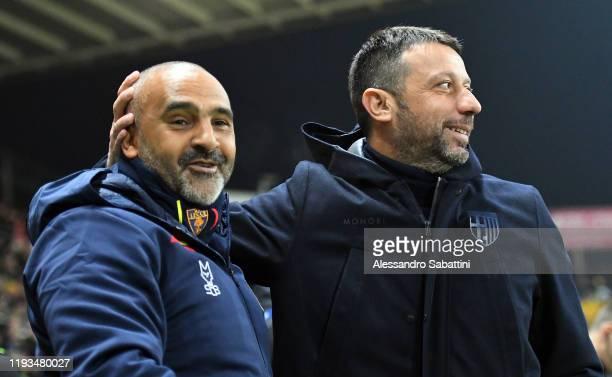 Fabio Liverani head coach of US Lecce embraces Roberto D'Aversa head coach of Parma Calcio during the Serie A match between Parma Calcio and US Lecce...