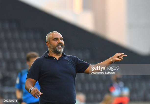 Fabio Liverani head coach of US Lecce gestures during the Serie A match between Udinese Calcio and US Lecce at Stadio Friuli on July 29, 2020 in...
