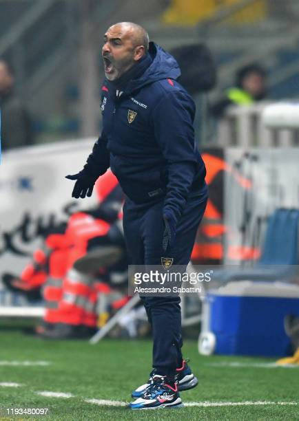 Fabio Liverani head coach of US Lecce reacts during the Serie A match between Parma Calcio and US Lecce at Stadio Ennio Tardini on January 13 2020 in...