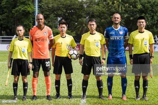 Fabio Lopes Alcantara of Sun Bus Yeun Long and Igor Miovic of BC Rangers pose for photos among referees prior the Hong Kong Premier League Week 4...