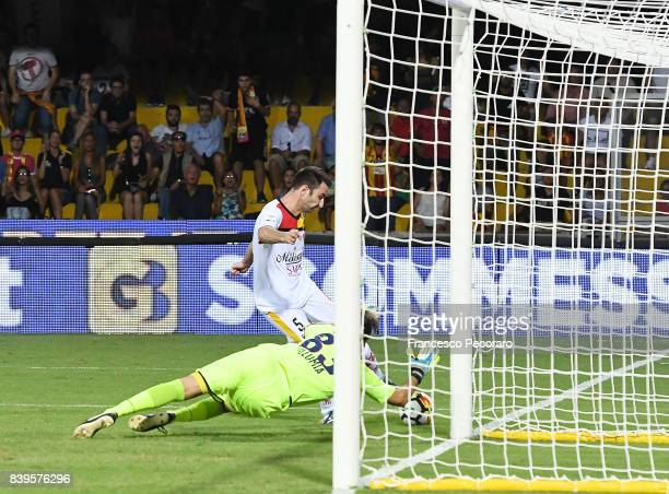 Fabio Lucioni of Benevento Calcio disallowed goal with video assistant referee during the Serie A match between Benevento Calcio and Bologna FC at...