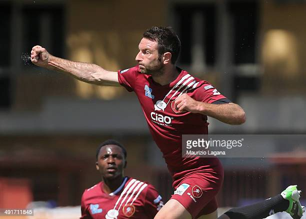 Fabio Lucioni of Reggina celebrates after scoring the opening goal during the Serie A match between Reggina Calcio and AC Cesena on May 17 2014 in...