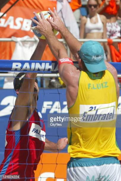 Fabio Luiz and Marcio of Brazil face off against Todd Rogers and Phil Dalhausser of the United States during the final match of the Desafio dos Reis...