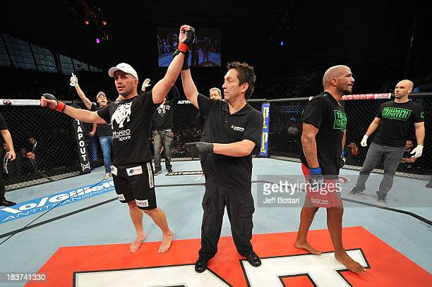 Fabio Maldonado celebrates after defeating Joey Beltran in their light heavyweight bout during the UFC Fight Night event at the Ginasio Jose Correa...