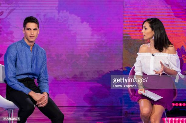 Fabio Mancini and Caterina Balivo attends 'Detto Fatto' tv show on June 12 2018 in Milan Italy