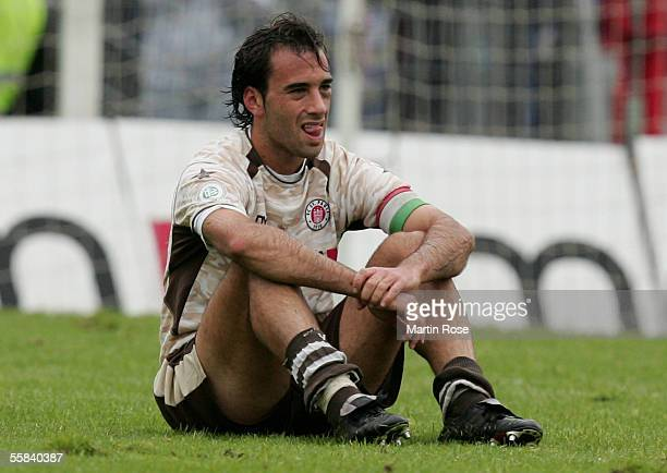 Fabio Morena of StPauli looks dejected after losing the match of the Third Bundesliga between FC St Pauli and Carl Zeiss Jena at the Millerntor...