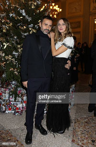 Fabio Novembre and Candela Novembre attend the Fondazione IEO CCM Christmas Dinner For on December 16 2014 in Monza Italy