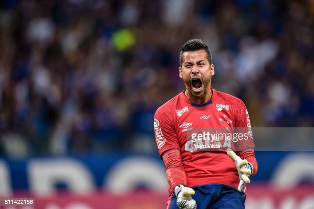 Fabio of Cruzeiro celebrates a scored goal against Palmeiras during a match between Cruzeiro and Palmeiras as part of Brasileirao Series A 2017 at...