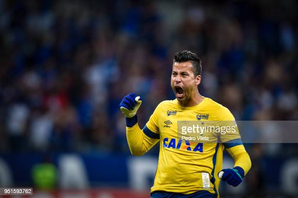 Fabio of Cruzeiro reacts to a play against Universidad de Chile as part of Copa CONMEBOL Libertadores 2018 at Mineirao stadium on April 26 2018 in...