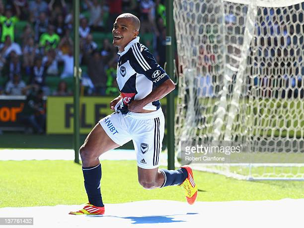 Fabio of the Victory celebrates his goal during the round 17 A-League match between the Melbourne Victory and Sydney FC at AAMI Park on January 26,...