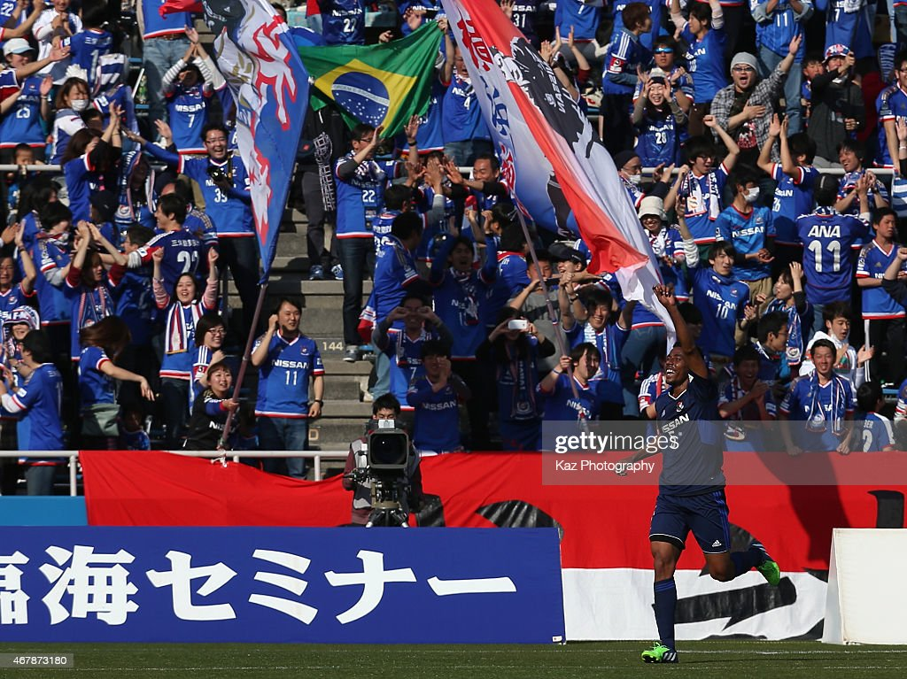 Fabio of Yokohama F.Marinos celebrates scoring his team's second goal during the J.League Yamazaki Nabisco Cup match between Yokohama F.Marinos and Shimizu S-Pulse at Nippatsu Mitsuzawa Stadium on March 28, 2015 in Yokohama, Kanagawa, Japan.