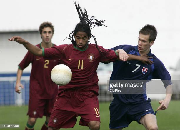 Fabio Paim of Portugal and Patrik Mraz of Slovakia during an 11th Madeira International U20 Tournament in Madeira Portugal on February 28 2007