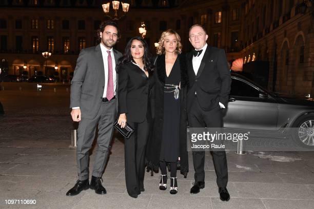 Fabio Palombi Salma Hayek Valeria Golino and FrancoisHenri Pinault is seen arriving at Boucheron dinner on January 20 2019 in Paris France