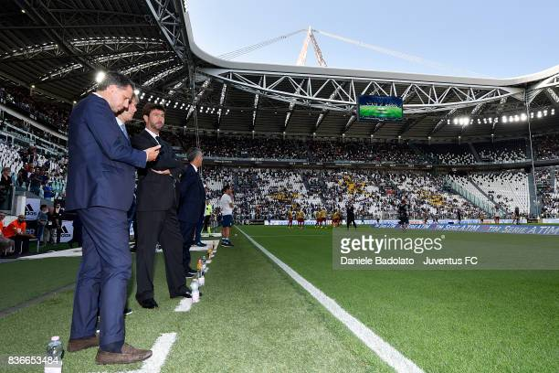 Fabio Paratici Pavel Nedved and Andrea Agnelli during the Serie A match between Juventus and Cagliari Calcio at Allianz Stadium on August 19 2017 in...