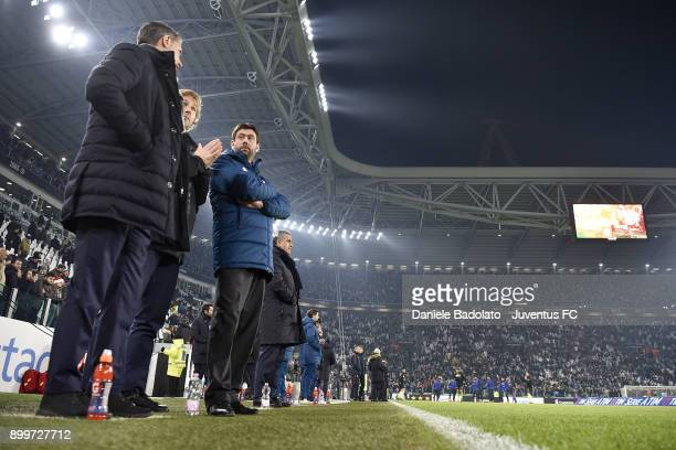 Fabio Paratici Pavel Nedved and Andrea Agnelli during the serie A match between Juventus and AS Roma at Allianz Stadium on December 23 2017 in Turin...